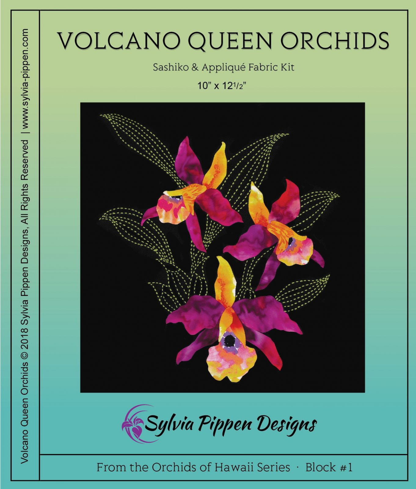 Volcano Queen Orchids Sashiko & Applique Fabric Kit from the Orchids of Hawaii  Series