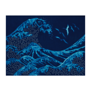 Waves & Birds Cyanotype Pre-printed Japanese Sashiko Fabric Panel