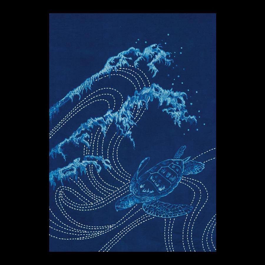 Waves & Sea Turtle Cyanotype Pre-printed Japanese Sashiko Fabric Panel