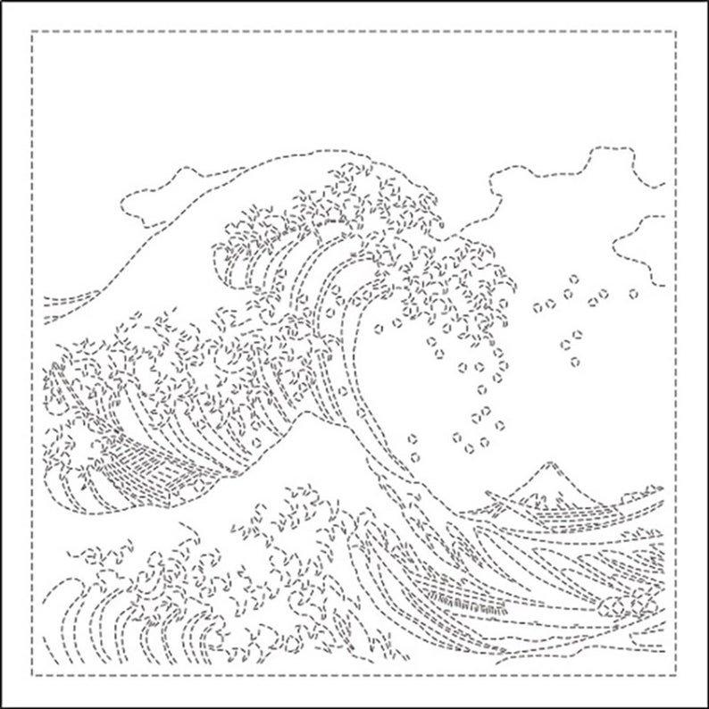 Hana Fukin Great Wave of Kanagawa Sashiko Sampler white