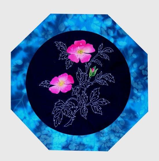 Wild Rose North American Wildflowers Pattern Sashiko & Applique Design