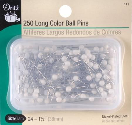 LONG COLOR BALL PINS 250 CT. 111D