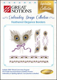 FEATHERED ELEGANCE BORDERS EMBROIDERY DESIGN INSPIRATION COLLECTION