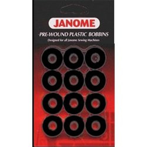 JANOME PRE-WOUND 12 PACK OF PLASTIC BOBBINS - BLACK