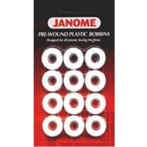 JANOME PRE-WOUND 12 PACK OF PLASTIC BOBBINS - WHITE