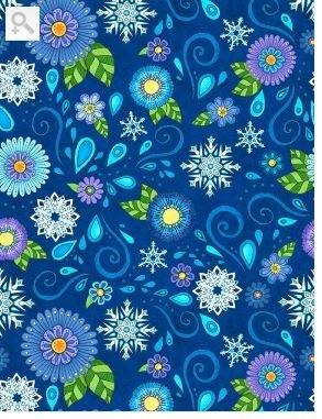 ARCTIC WONDERLAND - FLOWER & SNOWFLAKES DK BLUE -( 77613-447)