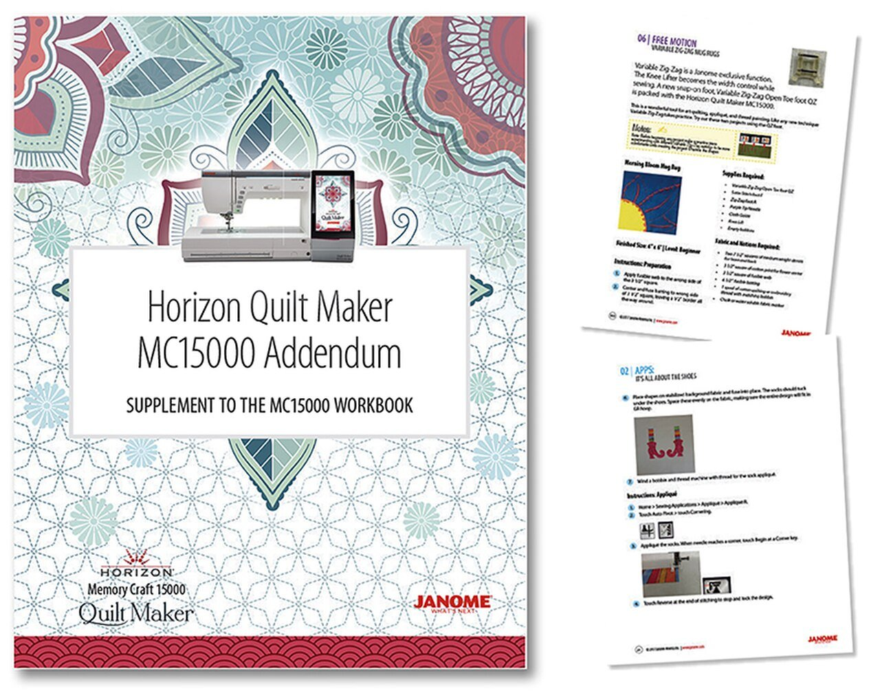MC 15000 Workbook with addendum Quiltmaker Pro