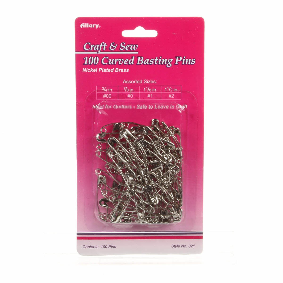 ASSORTED CURVED SAFETY PINS #821A
