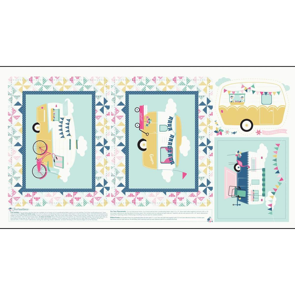 I'D RATHER BE GLAMPING PANEL BLUE P8487-BLUE