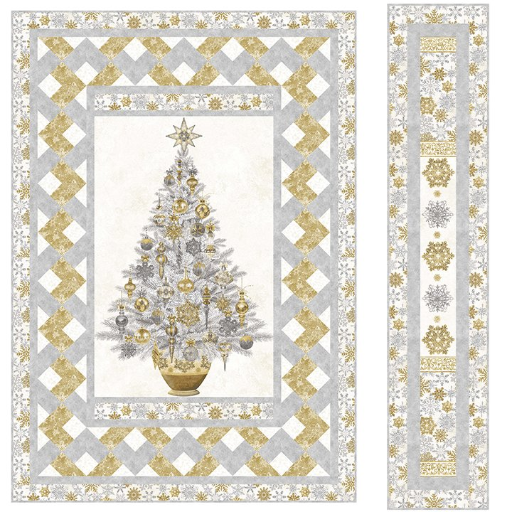 HOLIDAY GLAMOUR STONEHENGE WHITE CHRISTMAS QUILT KIT PLUS BONUS RUNNER