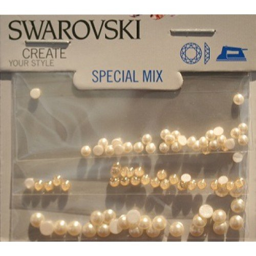 SWAROVSKI CRYSTAL FANCY CAB MIX CRYSTAL CREAM PEARL, GOLD SHADOW MIX