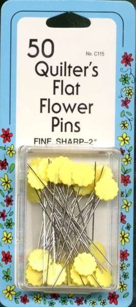50 QUILTERS FLAT FLOWER PINS YELLOW 115C