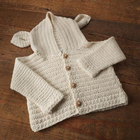 Appalachian Baby Organic Cotton - Lamb's Ear CROCHET Cardigan Kit