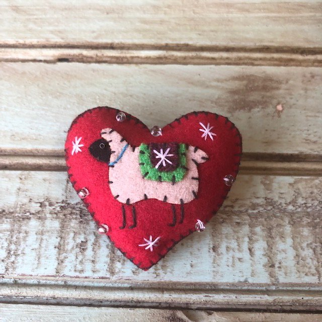 Red Heart with sheep and snow pin