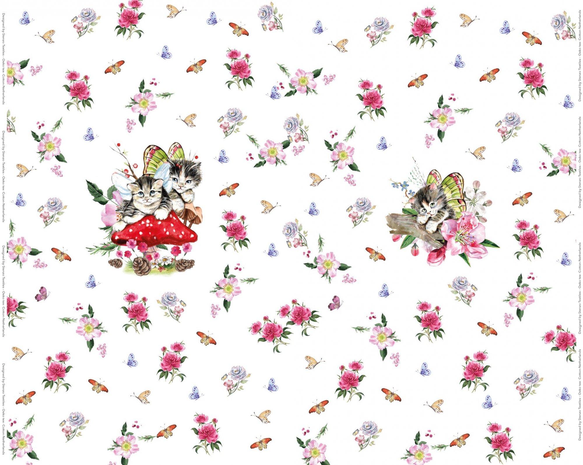 9474909edf2 Cat Butterflies PANEL; Stenzo Jersey Digital Print Fabric 59 W x 27.5 H