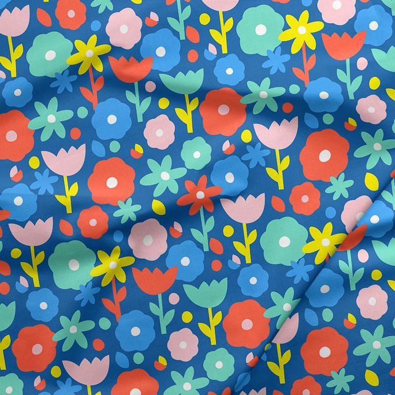 Flowers on Blue - Paintbrush Studios