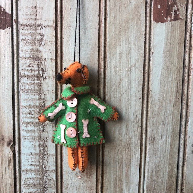 Brown Dog Green Coat Ornament