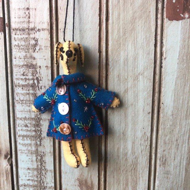 Yellow Dog Blue Coat Ornament