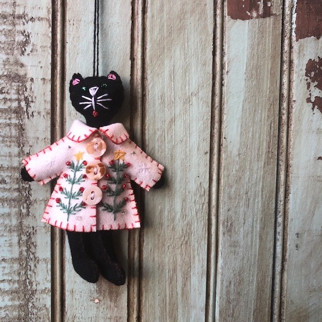 Black Cat White Coat Ornament