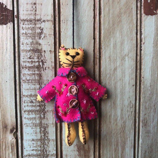 Yellow Cat Pink Coat Ornament