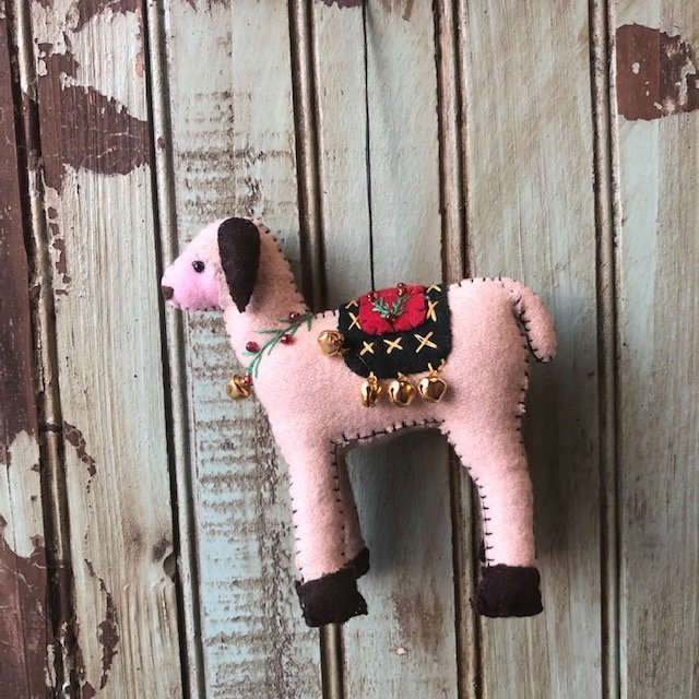 Gray Sheep w/Pink Face ornament