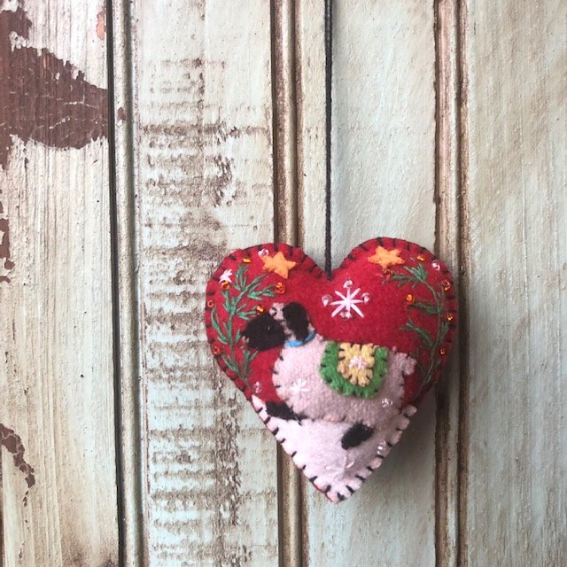 Red Heart with sheep ornament