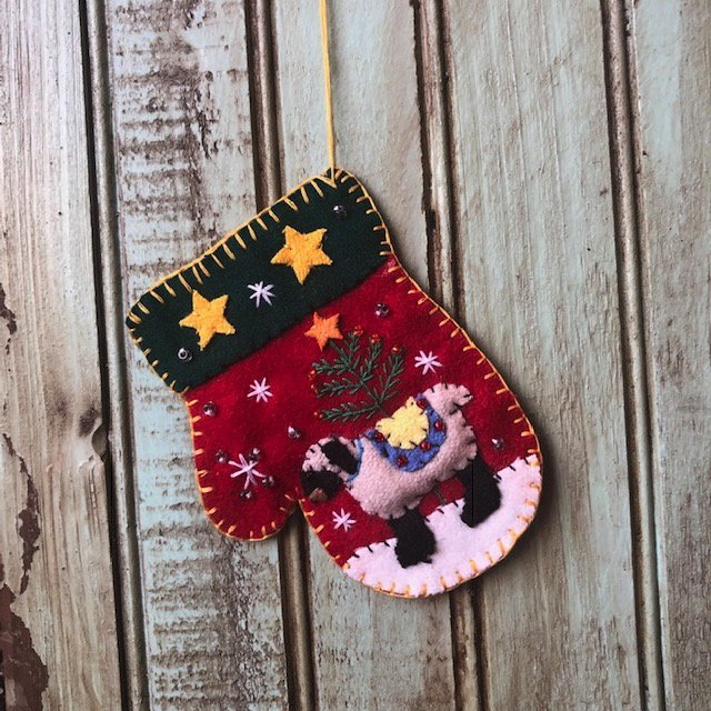Red Mitten with Gray sheep - ornament