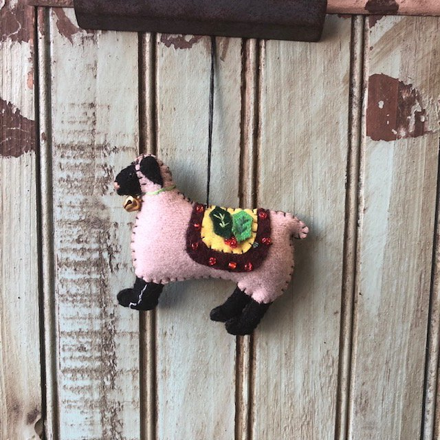 Sheep with Holly and beads ornament