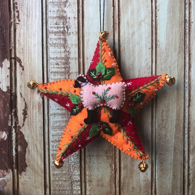Red Yellow Star with sheep and leaves ornament
