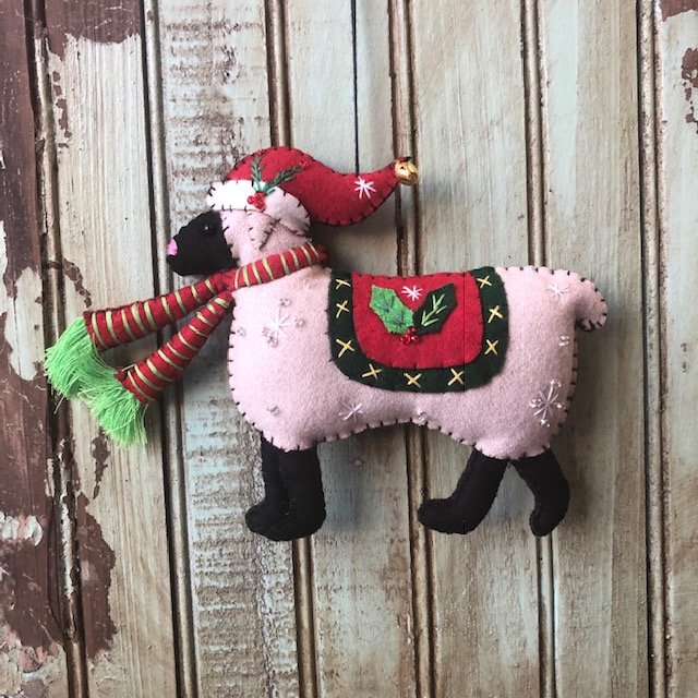 Gray Sheep with red hat and scarf ornament