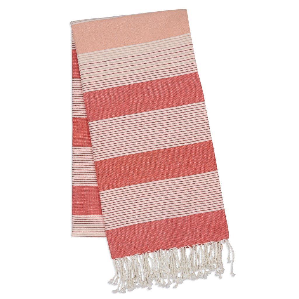 Coral Stripe Fouta Towel 39 x 78 - 28989