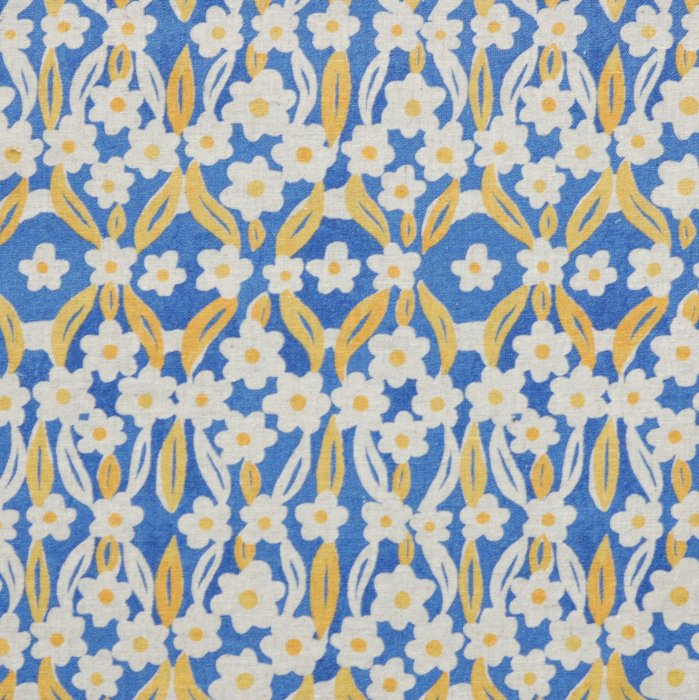 Gold and Blue Flowers on Blue Hokkoh Fabric 45 wide - Seven Islands