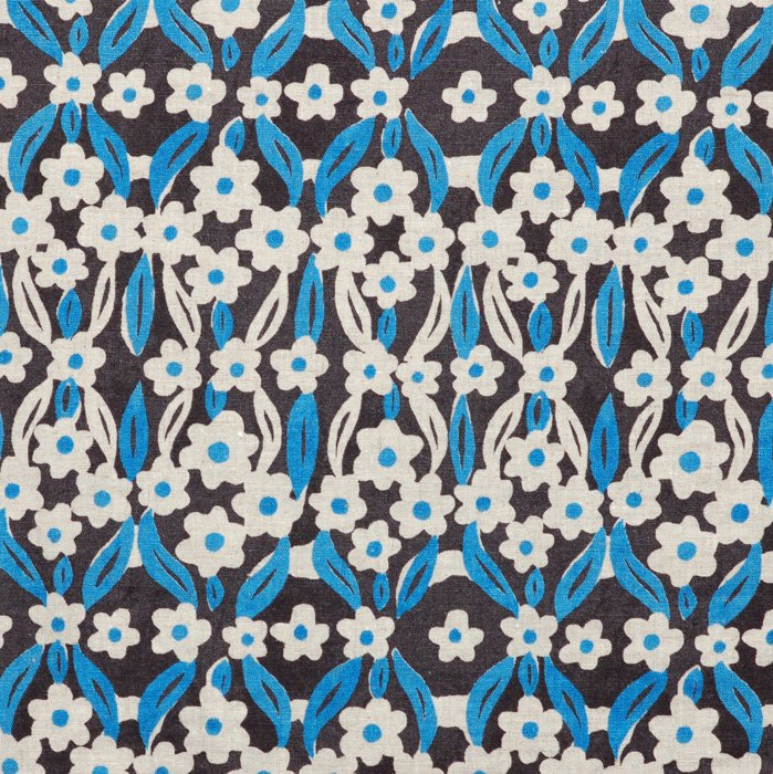 Cream and Blue Flowers on Navy Hokkoh Fabric 45 wide - Seven Islands
