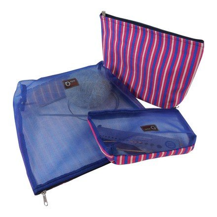 Della Q Mesh Zip Pouch Set of 3 - Pink and Blue Stripe