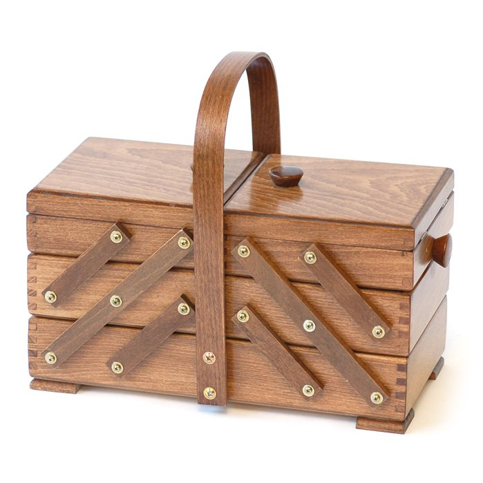 Aumuller Korbwaren Cantilever Medium Wooden Sewing Box w/Arch Handle