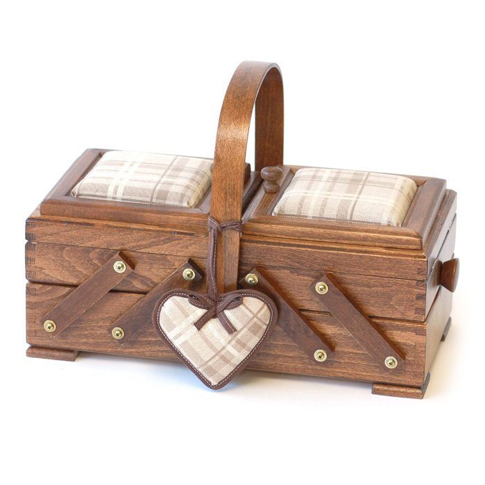 Aumuller Korbwaren Cantilever Small Wooden Sewing Box w/Arch Handle Fabric Padded Top and Heart Pincushion