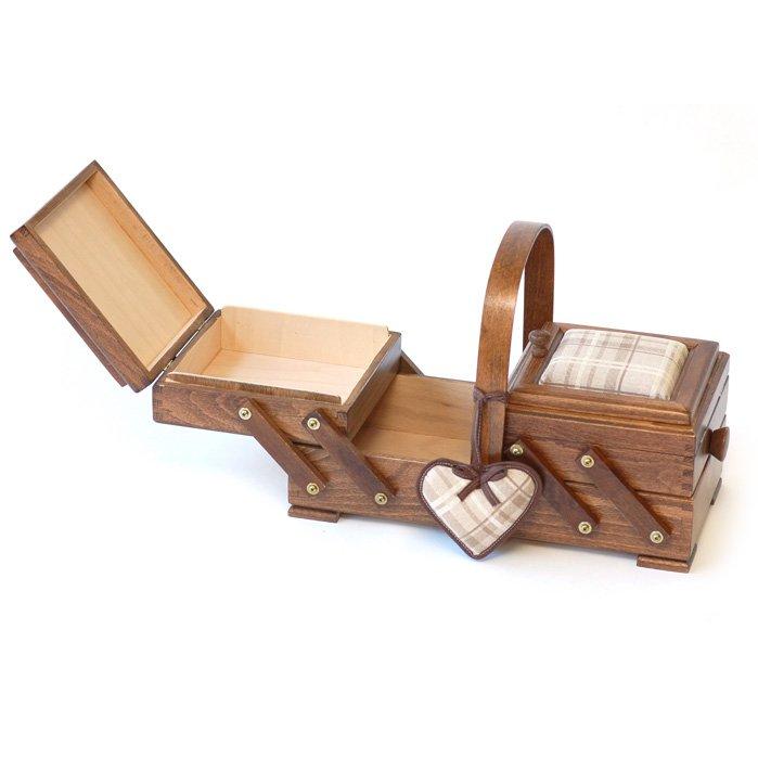 Aumuller Korbwaren Cantilever Small Wooden Sewing Box