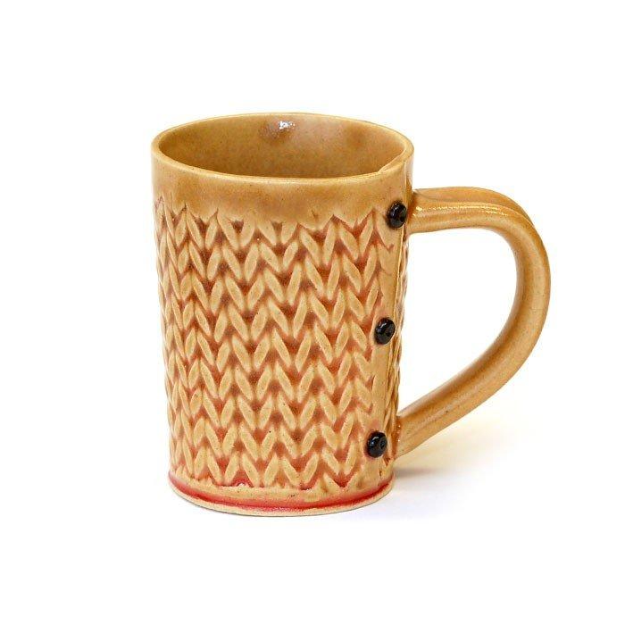 Creative With Clay Medium Tea Mug - Knit Stitch
