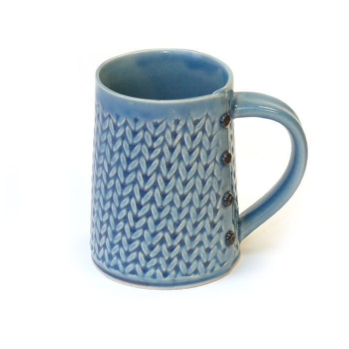 Creative With Clay Big Coffee Mug - Knit Stitch