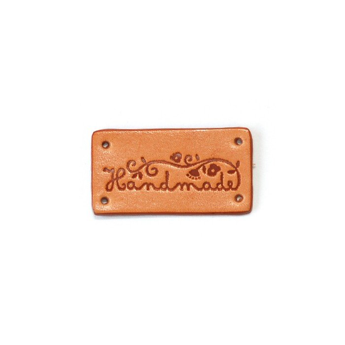 Leather Tag 'Handmade' - Rectangle Floral