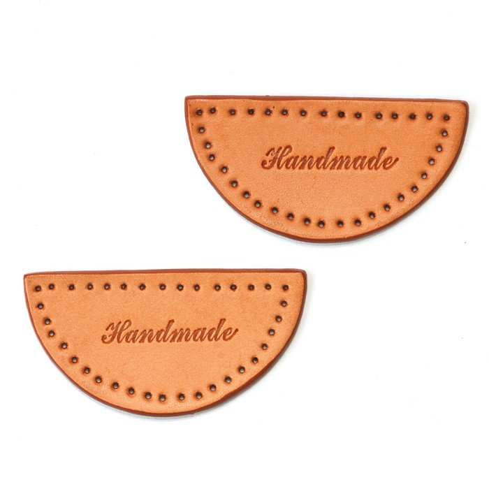 Makers' Mercantile Leather Tag Stamped 'Handmade' - Half Circle (2-pack)