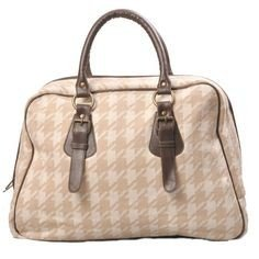 Darzzi Suitcase Bag - Houndstooth Stone and Natural