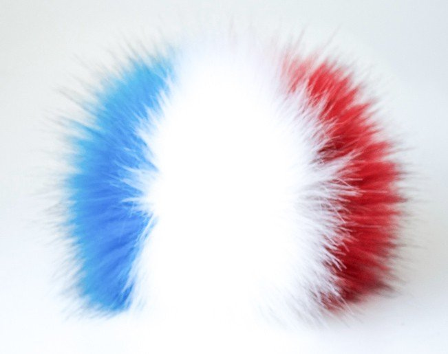 LOVaFUR Handmade Vegan Fur PomPom - USA National Flag Red/White/Blue