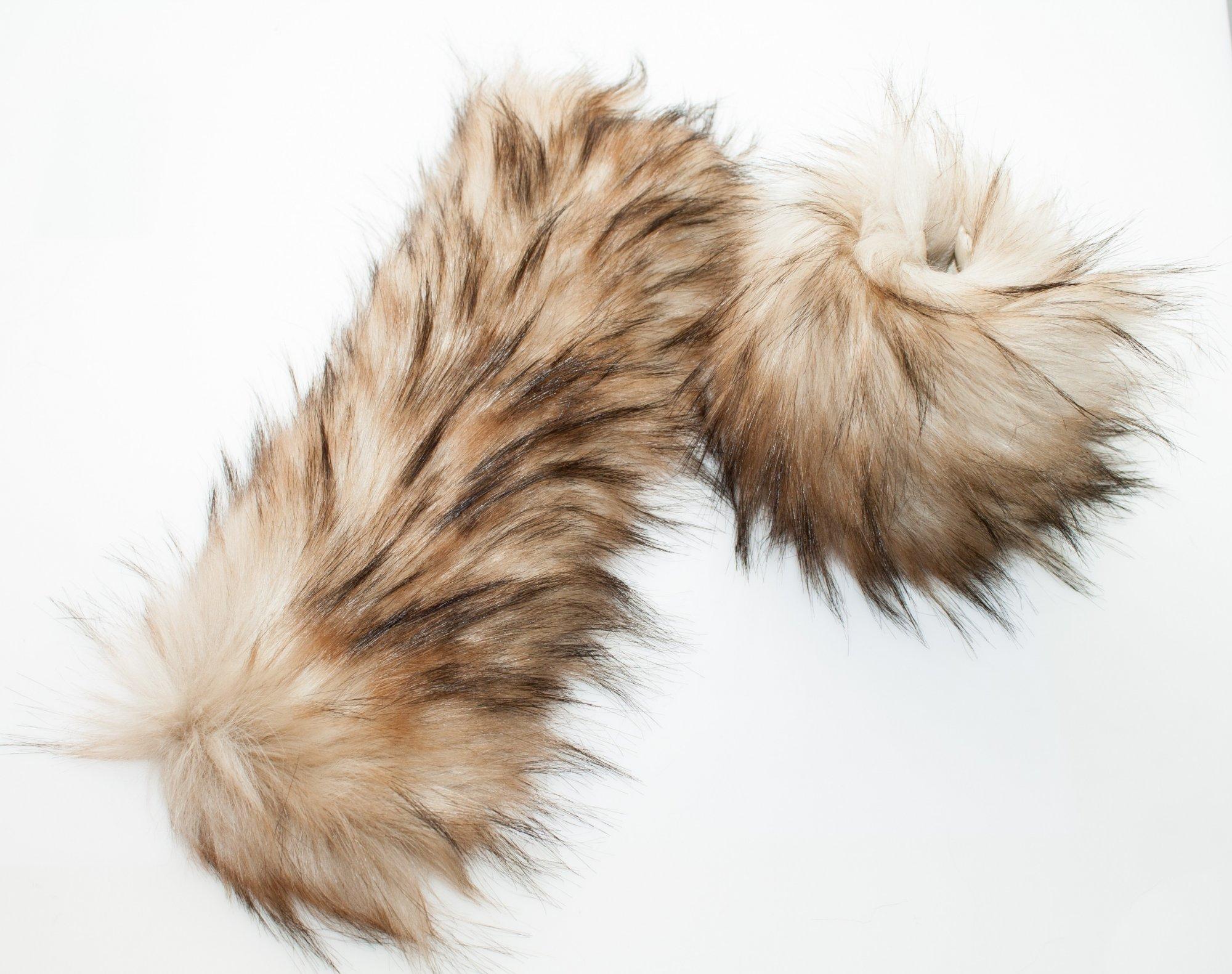 LOVaFUR Handmade Vegan Fur Cuff - Luxury Raccoon - Nat.