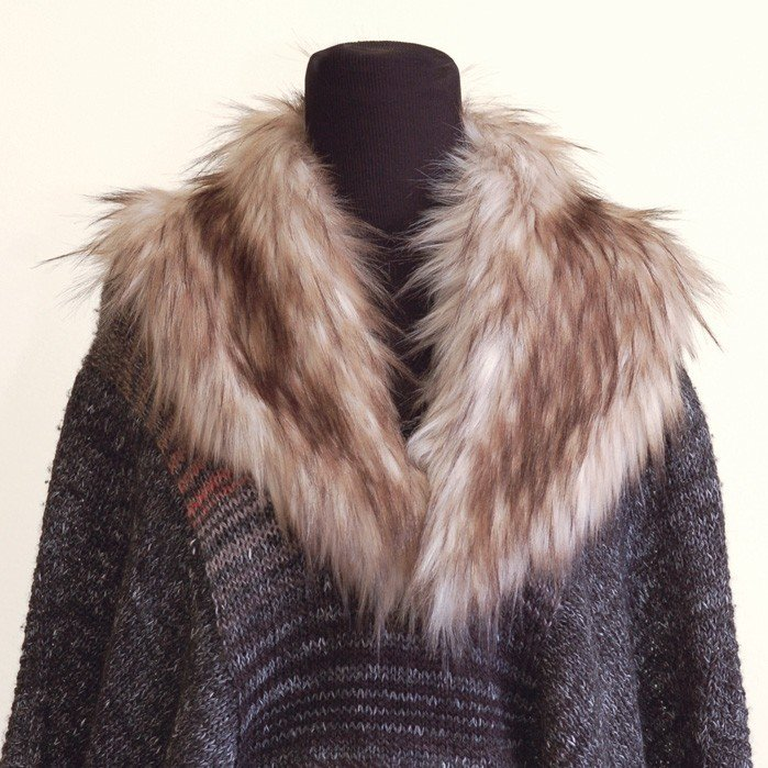 LOVaFUR Handmade Vegan Fur Collar - Luxury Raccoon - Nat.