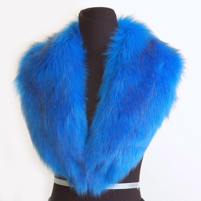 LOVaFUR Handmade Vegan Fur Collar - Oversize Ocean Blue