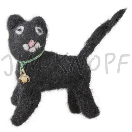 Jim Knopf - Black Cat w/Bell; Hand-crafted 3D Wool; 80mm (12717)