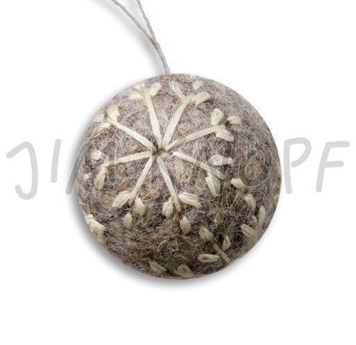 Jim Knopf Hand-crafted 3D Wool Felt Christmas Ornament w/Embroidery Gray 40mm (12876)