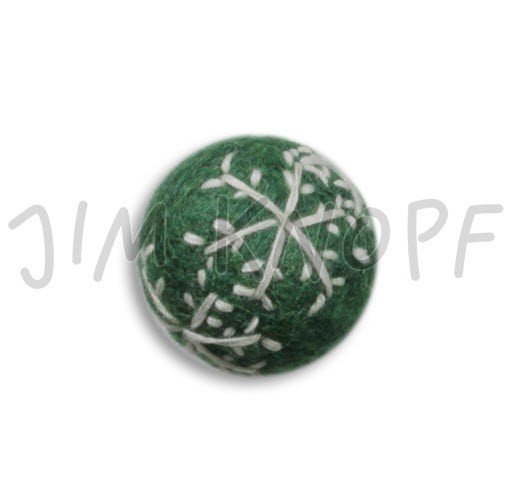 Jim Knopf Hand-crafted 3D Wool Felt Christmas Ornament w/Embroidery Green 40mm (12876)