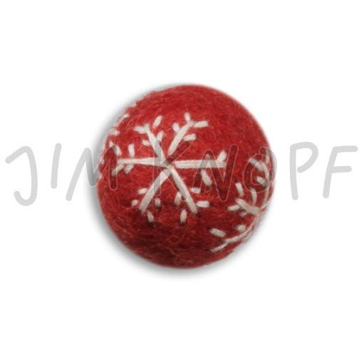 Jim Knopf Hand-crafted 3D Wool Felt Christmas Ornament w/Embroidery Red 40mm (12876)